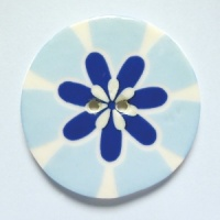 Flower Power Large Circular Blue Button