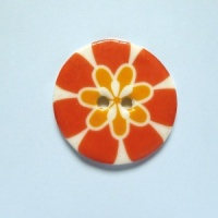 Flower Power Medium Circular Coral Button