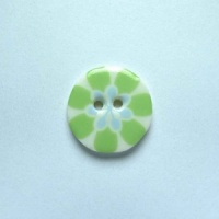 Flower Power Small Circular Green Button