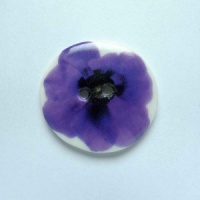 Indigo Flower Medium Circular Button