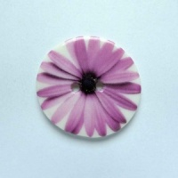 Purple Gerbera Medium Circular Button