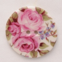 Rose Chintz Large Circular Button