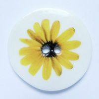 Yellow Gerbera Large Circular Button