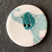 Elephant Blue Large Circular Button