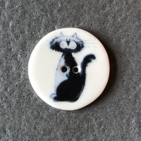 Cartoon Cat Black Medium Circular Button
