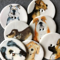 Assorted Dog Large Circular Buttons
