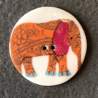 Elephant Orange Large Circular Button