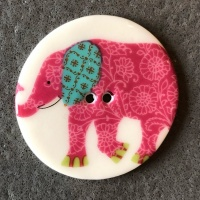 Elephant Pink Large Circular Button