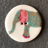 Elephant Teal Large Circular Button