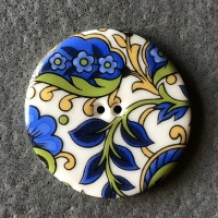 Blue Paisley Large Circular Button