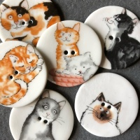 Assorted Cat Large Circular Buttons