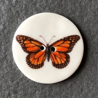 Dark Orange Butterfly Large Circular Button