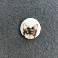 Brown Kitten Small Circular Button