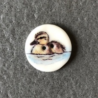 Duckling Swimming Smaller Medium Button