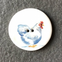 Chicken White Large Circular Button