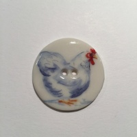 White Chicken Medium Circle Button