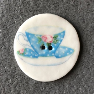 Teacup Turquoise Rose Large Circular Button